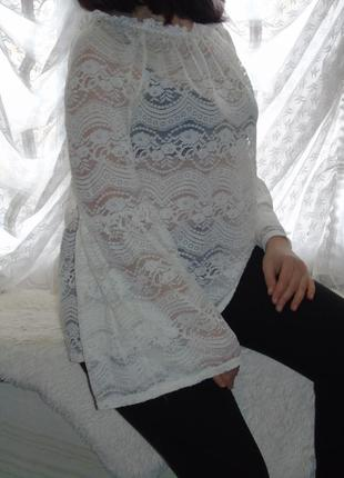 Кружевная кремовая блузочка 16 размера