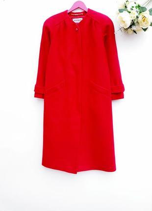 Шерстяное ярко крассное пальто миди демисезонное длинное пальто шикарное пальто