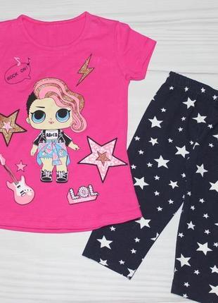 🍀 летний хлопковый комплект c куколкой лол lol (футболка и бриджи), турция 🍀
