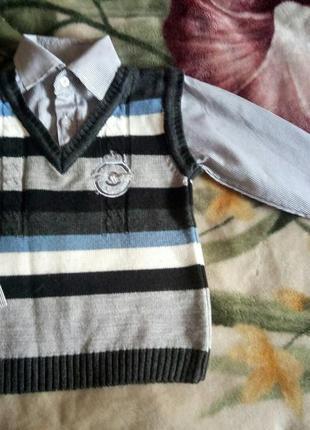 Реглан -обманка(рубашка+жилетка) р. 104-110 пр-во турция