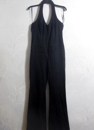 Комбинезон h&m джинсовый чёрный брючный штаны клёш открытая спина без рукава бисер