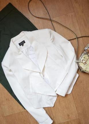 Пиджак белый водопад укороченный короткий стильный качественный 36 с классика