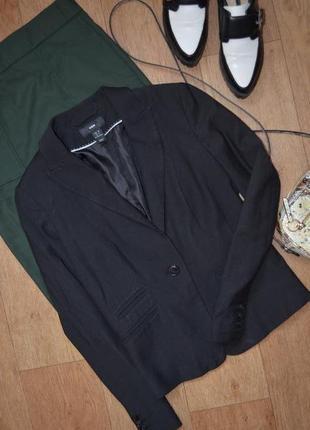 Прямой классический пиджак чёрный с качественный h&m классика прямой стильный