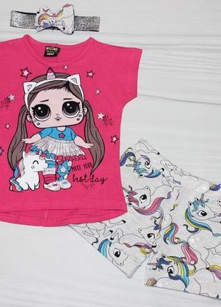 🍀 летний хлопковый комплект c куколкой лол lol (футболка, шорты и повязка), турция 🍀