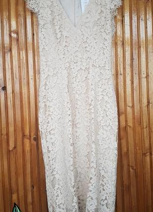 Красивое кружевное вечернее платье миди h&m
