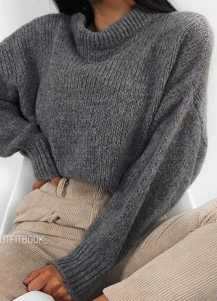 Модный женский серый свитер oversize