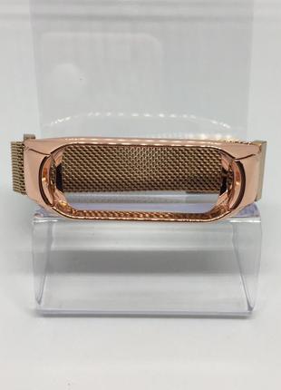 Металлический ремешок mi band 3 ми бенд 4 розовое золото на магните