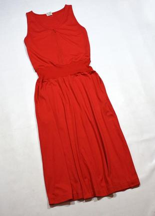 Червоне плаття міді з кишенями