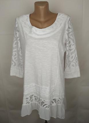 Блуза красивая белая кружево паетки marks&spencer uk 16/44/xl
