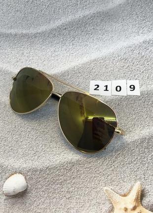 Солнцезащитные очки авиаторы с желто-коричневыми линзами  к.2109