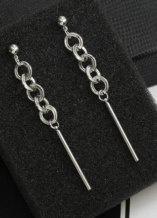 Серьги сережки серебристые цепочки цепи качественные новые