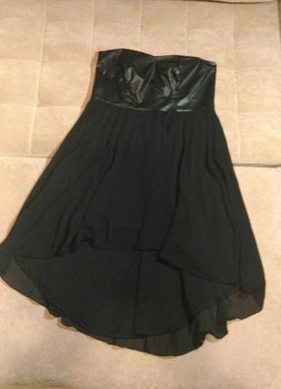 Вечернее чёрное платье, шифон с эко кожей, р.16