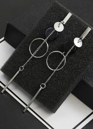Серьги сережки серебристые геометричные качественные новые