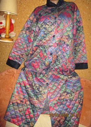 Тёплый на синтепоне халат для дома-двора