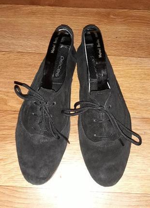 Натуральные замшевые легенькие туфли балетки на шнурках! размер 39