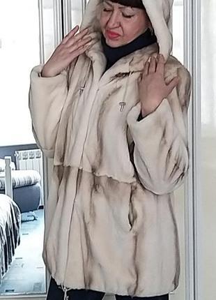 Норковая шуба papanikolaou греция, шикарного цвета паломино