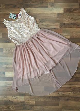 Новое с биркой нарядное красивое пудровое платье в пайетки размер l