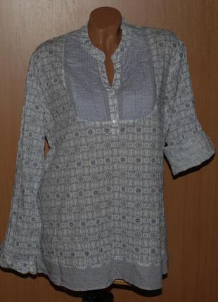 Блуза принтованая бренда basic edilions/ 100%хлопок/  /регулируемый рукав /