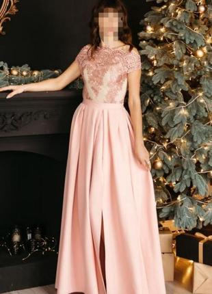 Шикарное длинное вечернее платье, сукня