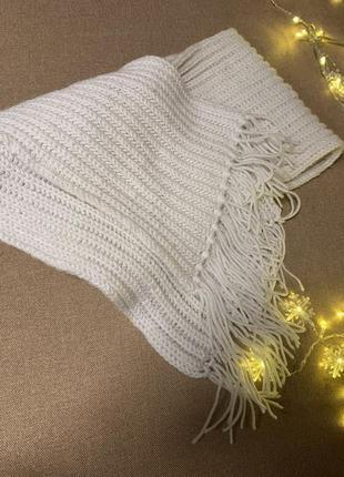 🌑белый вязанный шарф 🌑