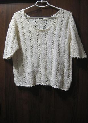Джемпер кофта свитерок вязаный толстый белый молочный ажурный четверной рукав