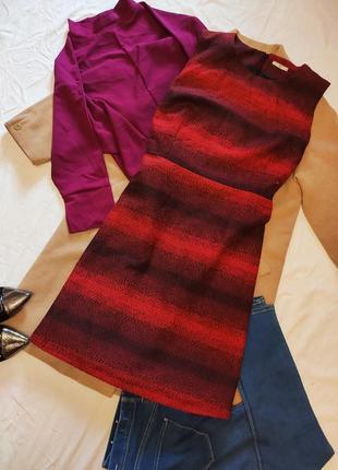 Платье красное чёрное омбре прямое теплое на подкладке большое tu