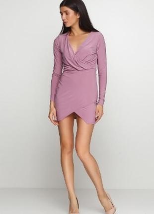 Платье сиреневое розовое с запахом микромасло