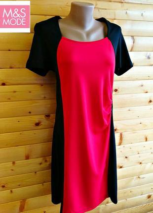 Оригинальное черное платье ms mode,  декорированное контрастной красной вставкой спереди.