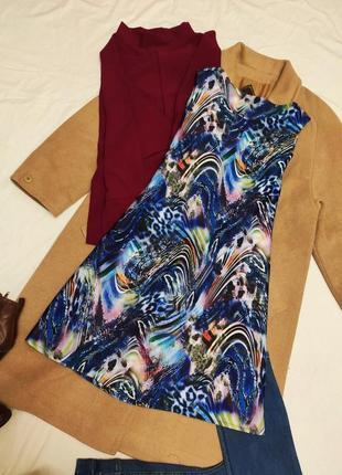 Платье ручной работы трапеция разноцветное синее белое голубое зелёное