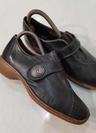 Rieker кожаные туфли на небольшом устойчивом каблуке