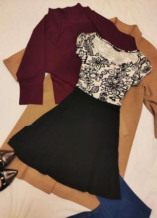 Платье стрейчевое трикотажное чёрное белое классическое дороти перкинс