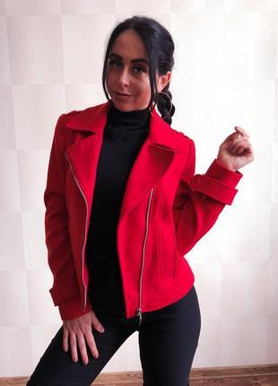 Косуха красная драповая , курточка демисезон