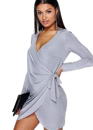 Ассиметричное платье на запах серо лиловое boohoo night