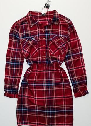 Новое натуральное красное синее зимнее платье рубашка клетка 52 - 54 размер george