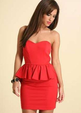 Oasis красное алое платье с баской бантом на спине корсетное на брительках