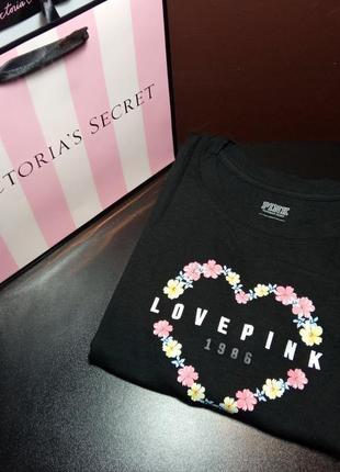 Базова футболка pink victoria's secret з принтом (xs)