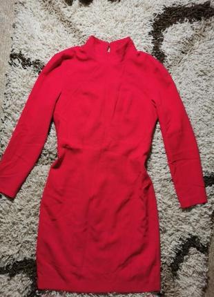 Платье алое сочно красное миди