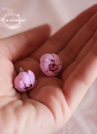 """Серьги гвоздики """"розовые пионы"""""""