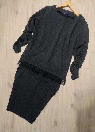 Стильный трикотажный костюм набор блуза юбка с кружевом