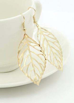 Сережки золоті листочки hand made