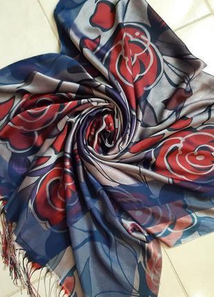 Расписной шарф с бахромой  sinem.