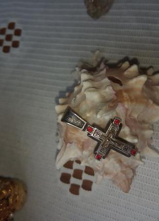 Кулон хрестик   з червоними оніксами