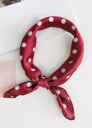 Платок платочек бант лента для волос на сумку топ-качество марсал в горох