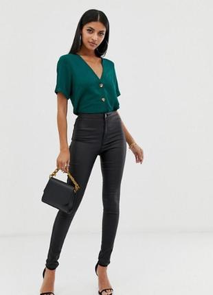 Зелений топ блуза з гудзиками