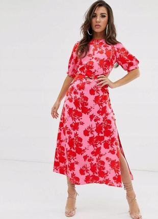 Asos червоно-рожева атласна сукня в квітковий принт