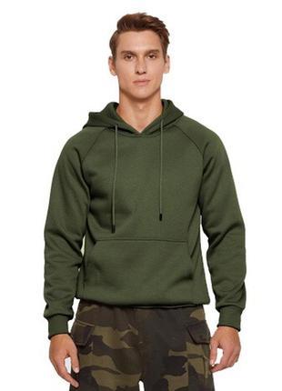 Мужская толстовка / худи / свитшот на флисе/ цвет армейский зелёный