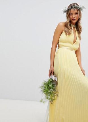 Ярко жёлтое платье плиссе с открытой спинкой, размер 8,  tfnc london