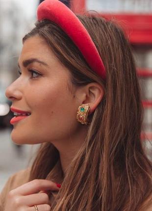 Ободок обруч повязка на волосы бархат бархатный объёмный красный новый качественный