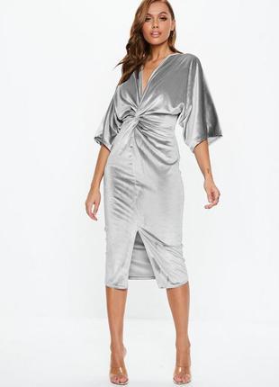 Роскошное серебристое вельветовое платье -кимоно