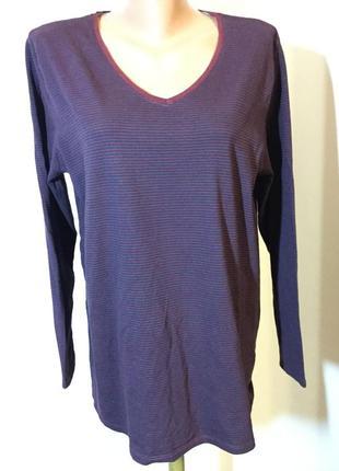 Приятная полосатая футболка цвета марсала и синей полоски/44—46/brend yessica